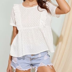 shein ruffle hem eyelet embroidered blouse